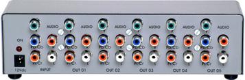 Distribuidor de Vídeo Componente e Áudio Estéreo 1x5 Saídas - SDA1x5