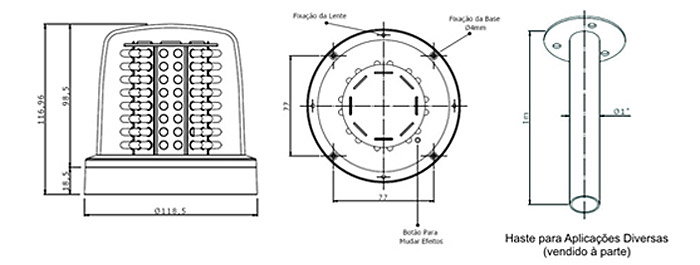 Giro LED - Dimensões
